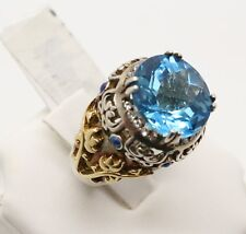 18k Yellow Gold & 925 Silver Blue Topaz 13 TCW Ring 7.5 Size