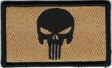 Tan Black Punisher Skull Morale Patch VELCRO® BRAND Hook Fastener Compatible