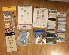 Lot Of Baby Boy Blue Craft Scrapbook Embellishments Ribbon Stickers Buttons