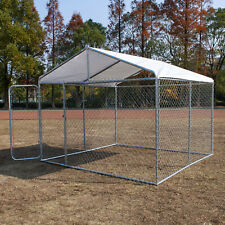10'x10' Xxl Pet Kennel House Outdoor Steel Dog Cage w/ Cover Puppy Playpen Yard