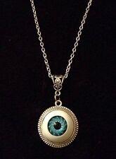 "3D Blue Eyeball Eye Ball Cameo Necklace Horror Rockabilly Pendant 24"" Chain *UK*"