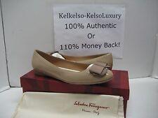 $495 NEW Salvatore Ferragamo US 7.5 My Cherie Beige Leather Ballet Flats Shoes