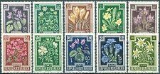 Österreich 868-877 Blumen mit sauberer Erstfalz
