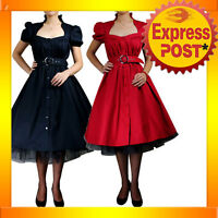 RK7 Belted Ruffle Dress Rockabilly Formal Swing 50s 40s Retro Tattoo Pin Up Plus