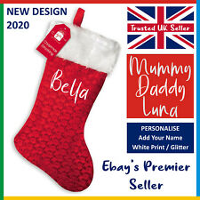 PERSONALISED CHRISTMAS STOCKING: Red or Green *Add Your Name* Printed XMAS