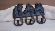 Cast Iron Triple Horse Head Towel Hanger Coat Hat Key Rack with 3 hooks Western