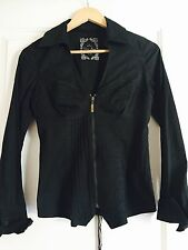 GUESS WOMENS SHIRT TOP TAILORED SEXY BLACK COTTON ELASTANE SZ XS