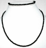 """925 Sterling Silver 12-40"""" Necklace Natural Black Spinel 4mm Round Cut Beads MV2"""