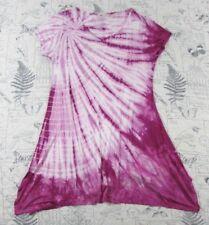 Soft Surroundings Women's Pink White Tie Dye Jersey Short Sleeve Tunic S Small