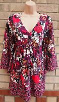 G21 PINK WHITE BLACK FLORAL CAPE OVERSIZED BAGGY V NECK TUNIC BLOUSE TOP 14 L