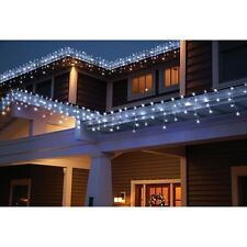 Holiday Time 70 Count Random Twinkle Cool White LED Icicle Lights White Wre