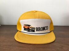 1980's Ford Bronco Truck Hat Cap Yellow And White Adjustable