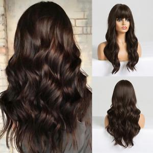 2021 Long dark brown ladies wig with Liu Haibo heat-resistant synthetic wig