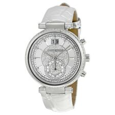 MICHAEL KORS Women's MK2443 Sawyer Silver Tone with Crystals & Leather Watch