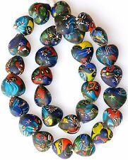 "27"" Strand Large Heart Shaped Millefiori Beads from the African Trade"