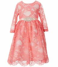 RARE EDITIONS® Toddler Girl's 2T Coral Lace Embellished Dress NWT