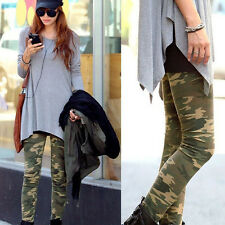 Womens Skinny Camouflage Punk Leggings Stretchy Skinny Army Green Pencil Pants