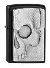 ZIPPO Feuerzeug Half SKULL m. Emblem Black matte Phantom Totenkopf Skull NEU OVP