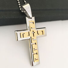 Cool Men's Man Gold Silver Cross Stainless Steel Pendant Chain Necklace