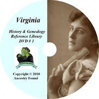 VIRGINIA - History & Genealogy - 227 Books on DVD, Ancestors, County, CD, VA