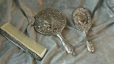 Vintage Silver Plate Dresser Vanity Set Mirror, Brush, Comb - Godinger Art Co