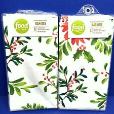 Christmas Holly Cloth Napkins 4 Pack Holiday Poinsettia Food Network
