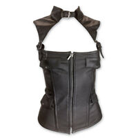 NWT VANCE LEATHERS LADIES ZIP FRONT COLLARED LAMBSKIN LEATHER CORSET VEST SZ XL