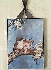 Vintage Fairy & Bird Postcard Plaque Shabby