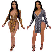 Women Snakeskin Print Deep V Neck High Slit Long Sleeve Bodycon Club Mini Dress