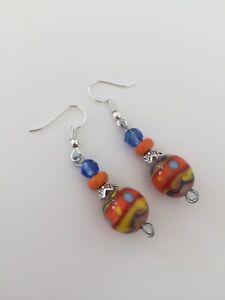 Handmade Glass Stone Bead Multi Colour Drop Dangle Hook Earrings