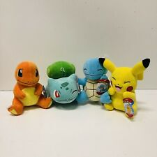 "Pokémon CHARMANDER PIKACHU SQUIRTLE BULBASAUR Plush Toy 8"" Wicked Cool Toys New"