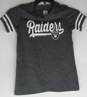 Oakland Raiders NFL Team Apparel YOUTH Girls S/S V-Neck Gray Tee XS S M L XL