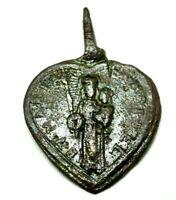 Weingarten Pilgermedaille Schutzamulett herzförmig Longinus Szene Bronze 18.Jh.