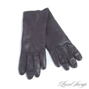 Vintage 1980s 90s Aris Chocolate Nappa Leather 100% Cashmere Lined Long Gloves 7