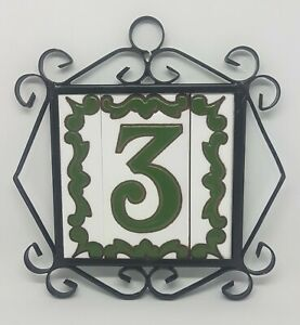 Spanish Green Ceramic Hand-painted Door Number and Letter Tiles and Metal Frames