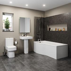 Bathroom Suite P Shaped Bath LH Screen Toilet WC Basin Sink Full Pedestal Square