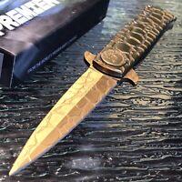 "9"" SPRING ASSISTED GOLD COBRA STILETTO TACTICAL FOLDING KNIFE Pocket Blade"
