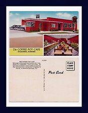 ALABAMA SYLACAUGA THE COFFEE POT CAFE AND RED TOP TAXI CABS POSTCARD CIRCA 1948