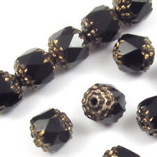 Jet Black Faceted 8mm Crown Cathedral Beads Czech Glass (12 Pieces)