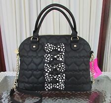 Betsey Johnson Chic Bows Dome Satchel Crossbody Bag Handbag Black Hearts NWT