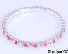 Pink & Clear Diamonte / Diamanté 1 Row Stretchy Bracelet - BRAND NEW