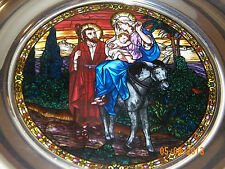 1992 Stained Glass & Pewter Christmas Plate (US Historical) FLIGHT INTO EGYPT