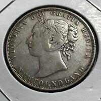 1898 NEWFOUNDLAND CANADA SILVER 50 CENTS QUEEN VICTORIA