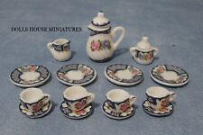 Heavy Floral Tea Set 15 Piece, Dolls House Miniature Tableware