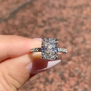 3.56 TCW Radiant Cut DVVS1 Moissanite Engagement Ring In 14k White Gold Plated