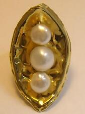 XL Long 18K Gold Italy Concave 3 Peas in a Pod Pearl Ring Sz 9 1/4 High Polish