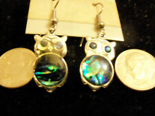 bling sterling silver plated abalone paua owl bird animal ear ring hip hop hot