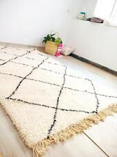 Exclusive Beni Ourain Rug White Morrocan Art Decor Berber 5x8 feet