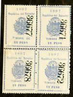 Salvador Stamps 1897 Revenue Excellent Condition Block Of 4