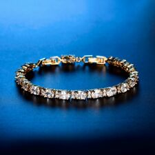 Promise Tennis Chain Yellow Gold Filled White Topaz Crystal Bracelet Jewelry